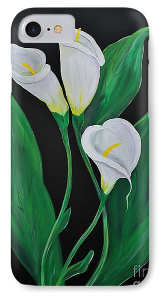 IPhone Case featuring the painting Three Calla Lilies On Black by Janice Rae Pariza
