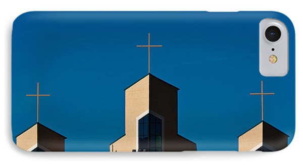 IPhone Case featuring the photograph Three Crosses Of Livingway Church  by Ed Gleichman