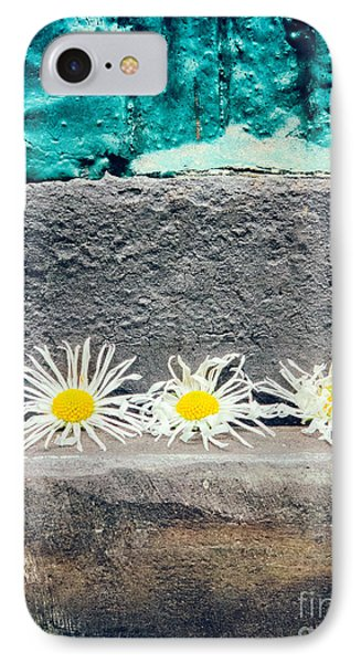 IPhone 7 Case featuring the photograph Three Daisies Stuck In A Door by Silvia Ganora