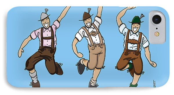 Three Dancing Oktoberfest Lederhosen Men IPhone Case by Frank Ramspott
