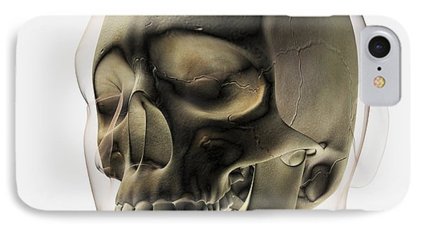Three Dimensional View Of Human Skull Phone Case by Stocktrek Images