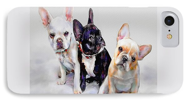 Three Frenchie Puppies Phone Case by Jane Schnetlage