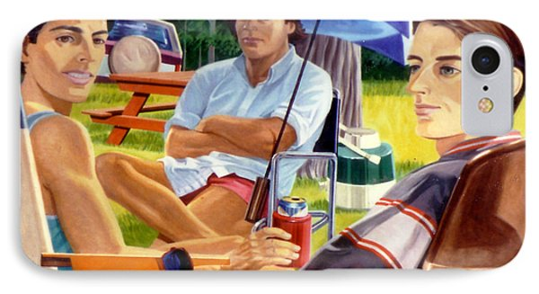Three Friends Camping IPhone Case by Stan Esson