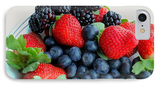 Three Fruit 2 - Strawberries - Blueberries - Blackberries Phone Case by Barbara Griffin