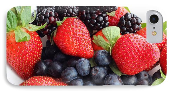 Three Fruit Closeup - Strawberries - Blueberries - Blackberries Phone Case by Barbara Griffin