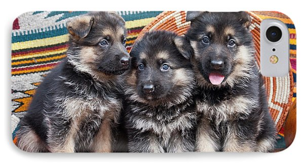 Three German Shepherd Puppies Sitting IPhone Case by Zandria Muench Beraldo