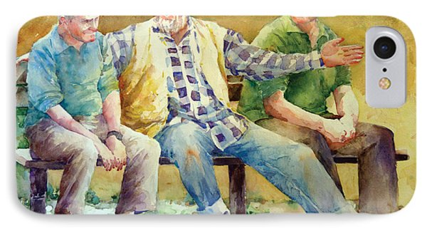 Three Guys On A Bench Phone Case by Janet Flom