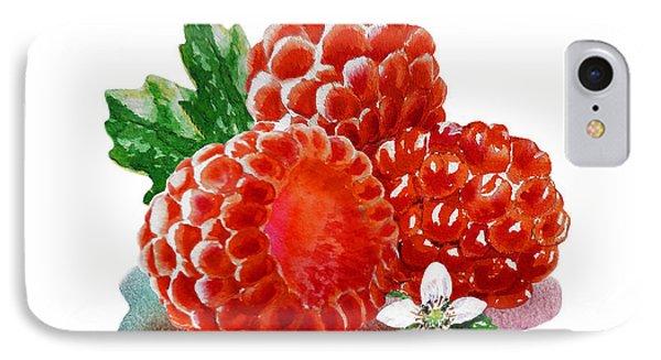 IPhone Case featuring the painting Three Happy Raspberries by Irina Sztukowski