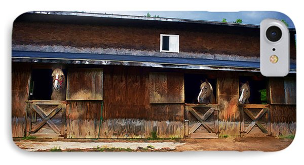 Three Horses In A Barn Phone Case by Dan Friend