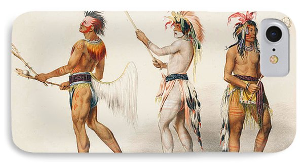 Three Indians Playing Lacrosse IPhone Case by Unknown