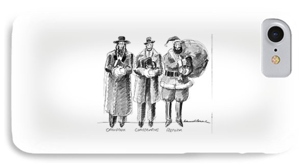 Three Jews Are Standing In A Line IPhone Case by Edward Sorel