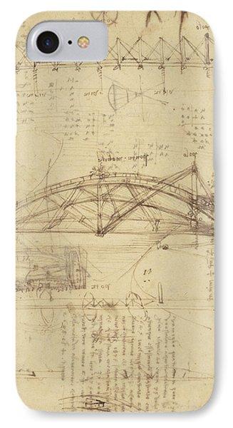 Three Kinds Of Movable Bridge Phone Case by Leonardo Da Vinci