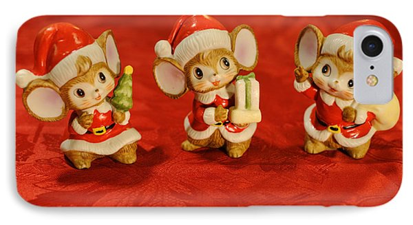 Three Little Christmas Mice IPhone Case by Luke Moore