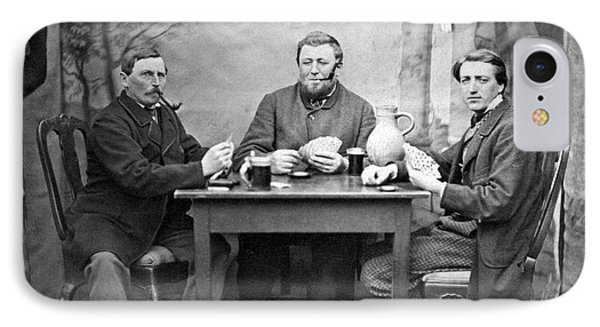 Three Men Playing Cards IPhone Case by Underwood Archives