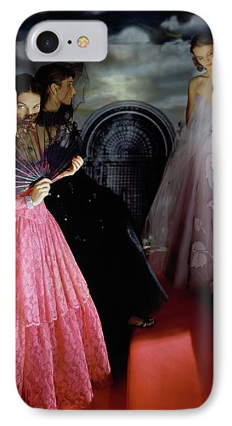 Three Models Wearing Ball Gowns IPhone Case by Horst P. Horst