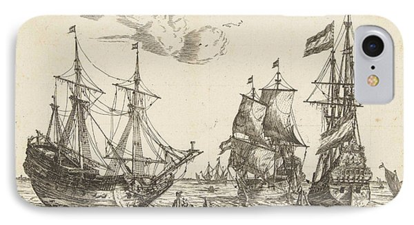 Three Moored Sailboats, Reinier Nooms IPhone Case by Reinier Nooms