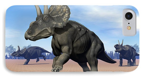 Three Nedoceratops In The Desert Phone Case by Elena Duvernay