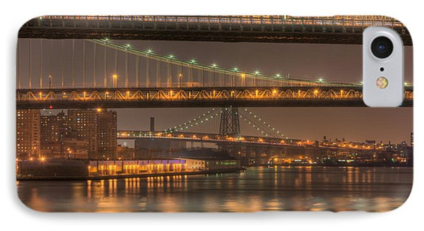 Three New York Bridges Phone Case by Clarence Holmes