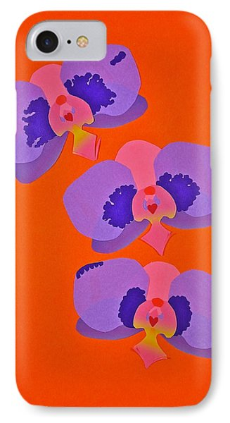 IPhone Case featuring the mixed media Three Orchids by Michele Myers