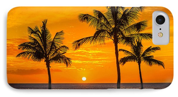 IPhone Case featuring the photograph Three Palms Golden Sunset In Hawaii by Aloha Art