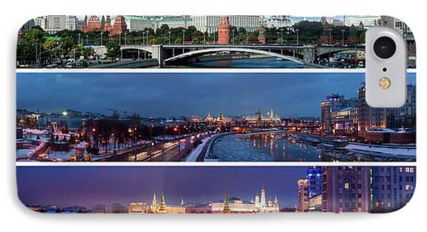 Three Panoramas Of Moscow Kremlin - Featured 3 IPhone Case by Alexander Senin