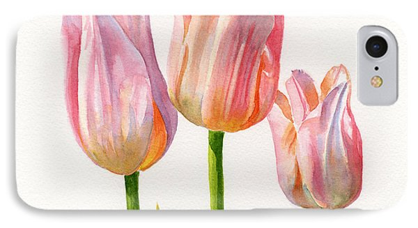 Three Peach Colored Tulips Square Design IPhone Case by Sharon Freeman
