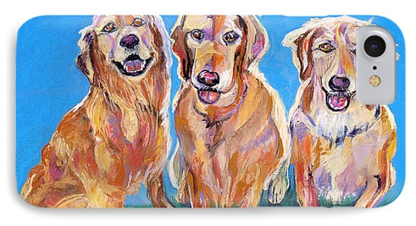 Three Playful Goldens IPhone Case by Julie Maas