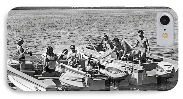 Three Power Boats Gather Together For Summer Boating Fun IPhone Case by Underwood Archives