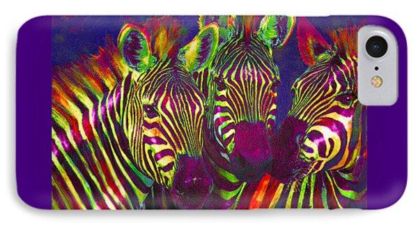 Three Rainbow Zebras IPhone Case by Jane Schnetlage