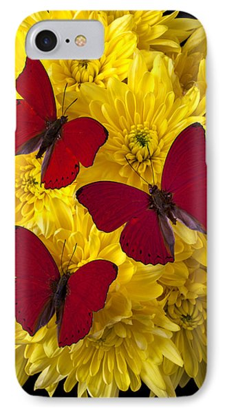 Three Red Butterflys Phone Case by Garry Gay