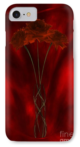 IPhone Case featuring the digital art Three Red Roses In The Red Room by Johnny Hildingsson