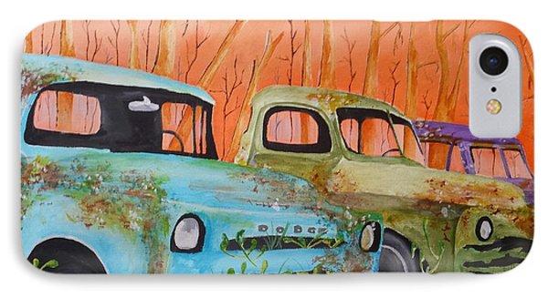 Three Rusty Trucks IPhone Case by Isaac Alcantar