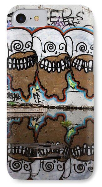 Three Skulls Graffiti IPhone Case by Carol Leigh