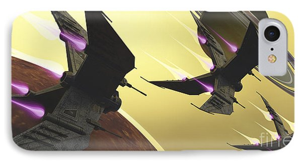 Three Spacecraft Pass By One Of Saturns IPhone Case by Corey Ford