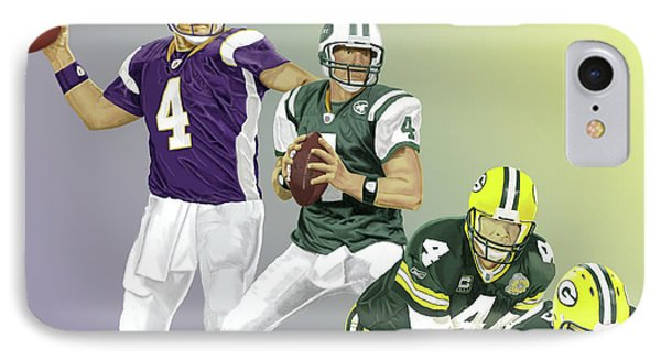 IPhone Case featuring the digital art Three Stages Of Bret Favre by Thomas J Herring
