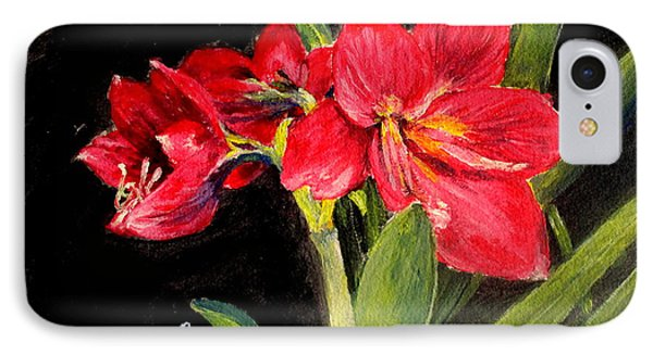 Three Stalks Of Lilies Blooming IPhone Case by Jason Sentuf