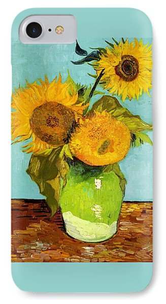 Three Sunflowers In A Vase IPhone Case by Vincent Van Gogh