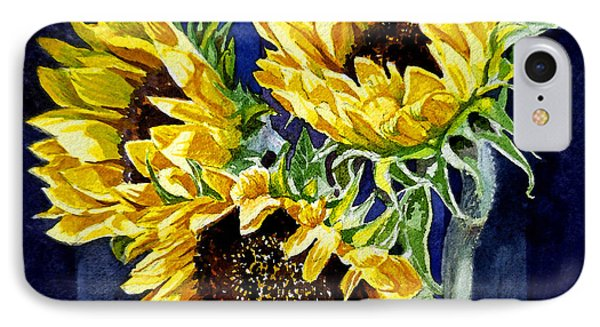 Three Sunny Flowers IPhone Case by Irina Sztukowski