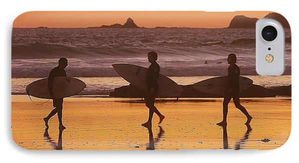 Three Surfers At Sunset IPhone Case by Blair Stuart