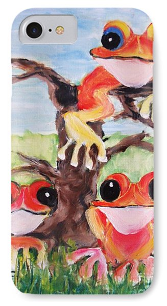 Three Tee Frogs IPhone Case by Rachel Carmichael