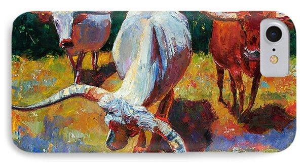 Three Texas Longhorns Phone Case by Debra Hurd