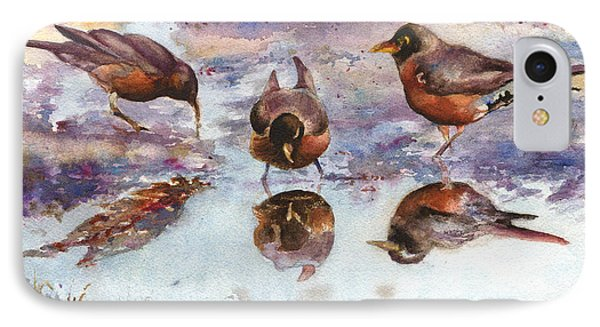Three Thirsty Robins IPhone Case by Anne Gifford