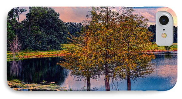 Three Trees In A Pond IPhone Case by Lewis Mann