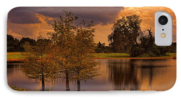 Three Trees In The Pond 2 IPhone Case by Lewis Mann