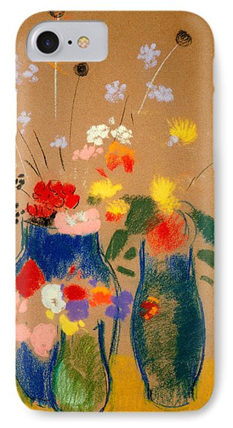 Three Vases Of Flowers Phone Case by Odilon Redon
