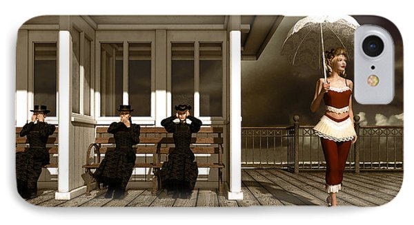 Three Victorian Ladies Sepia IPhone Case by Britta Glodde
