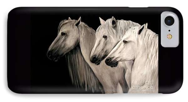 IPhone Case featuring the painting Three White Horses by Nancy Bradley