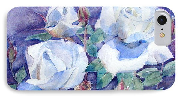 IPhone Case featuring the painting White Roses With Red Buds On Blue Field by Greta Corens