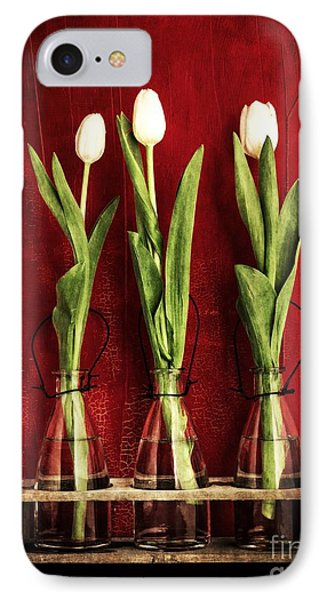 Three White Tulips Floral IPhone Case