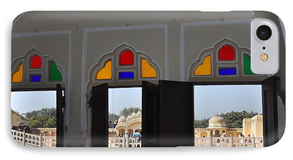 IPhone Case featuring the photograph Three Windows At The Hawa Mahal Jaipur Rajashan India by Diane Lent